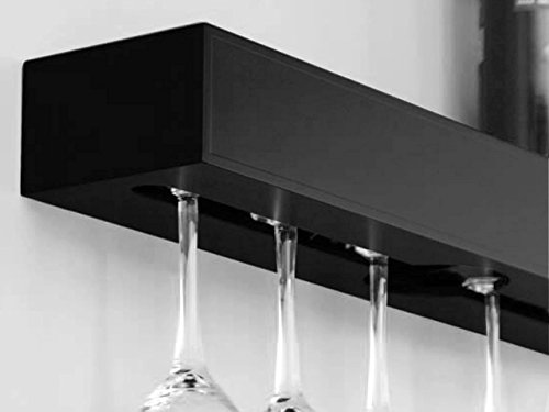 Wine Rack Shelf Holds 6 Glasses Organize Home Décor Storage Wall Bar Wine Bottle Glasses Holder Black - Queen St Brisbane