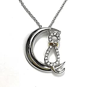 "EZ Creations Moon Cat CZ 925 Sterling Silver Necklace 18kt Gold Plated Two Tone. 18"" Plus Extension"