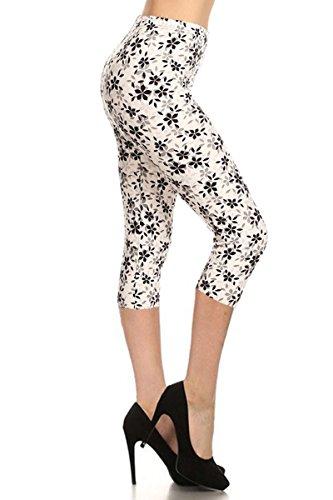 Leggings Depot Women's Plus Size High Waisted Capri Print Leggings (Lilac Imprint)