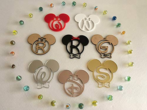 Personalized Mickey Mouse Minnie Mouse Initial Letters Hanging Ornament Monogram Customized Disney First Birthday Gift for Kids First Christmas Baubles Tree Decorations Mouse Ears Home Decor 1st Xmas -
