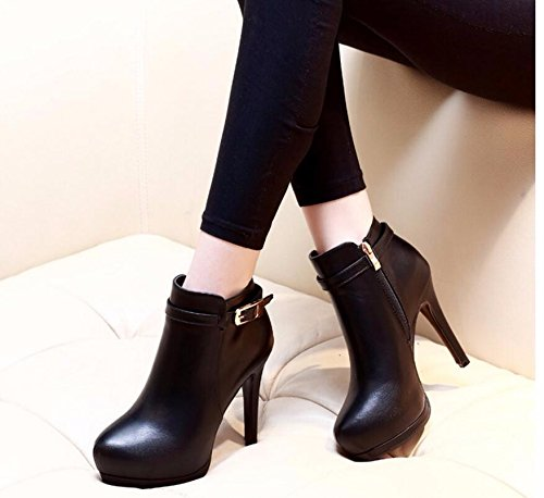 Heels With Fine All Boots Version Martin Match And Buckle Of Waterproof Boots Black The With In Autumn Velvet Winter New Boots High Belt KHSKX 5ZwOqxUZ