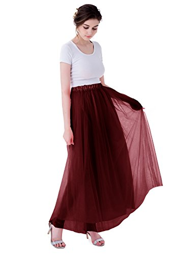 Kileyi Womens Long Elastic High Waist Tulle Tutu Maxi Prom Wedding Formal Skirt Burgundy M (Womens Red Tutu Skirt)