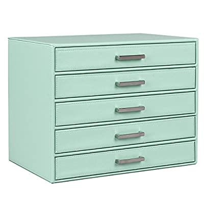 SONGMICS Jewelry Box Large Makeup Case Mint Green Organizer 5 Drawers UJBC136 - HIGH-END ORGANIZER: Made of selected faux leather, strong MDF structure and non-woven fabric, sturdy and durable SIMPLE & PLEASANT: Designed with mint green surface and fine-grained cream lining, bright and gentle MULTIPLE USES: The roomy storage box can be used at bedroom, living room, and office, which meet your demand to organize your jewelry, makeup and office items - organizers, bathroom-accessories, bathroom - 41%2BgBJkCYdL. SS400  -