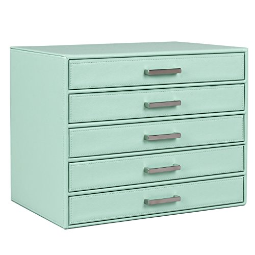 41%2BgBJkCYdL - SONGMICS Jewelry Box Large Makeup Case Mint Green Organizer 5 Drawers UJBC136