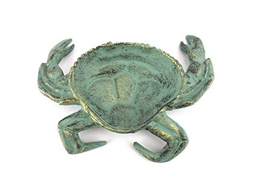 Handcrafted Decor K-003-bronze Antique Bronze Cast Iron Crab Decorative Bowl, 7 in.
