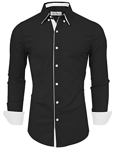 Tom's Ware Mens Classic Slim Fit Contrast Inner Long Sleeve Dress Shirts TWNMS314-1-337S-BLACK-US XL