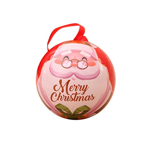 Dermanony Christmas Ball Tin Can Children Storage Jar Box Candy Box Home Hanging Decoration Candy Can