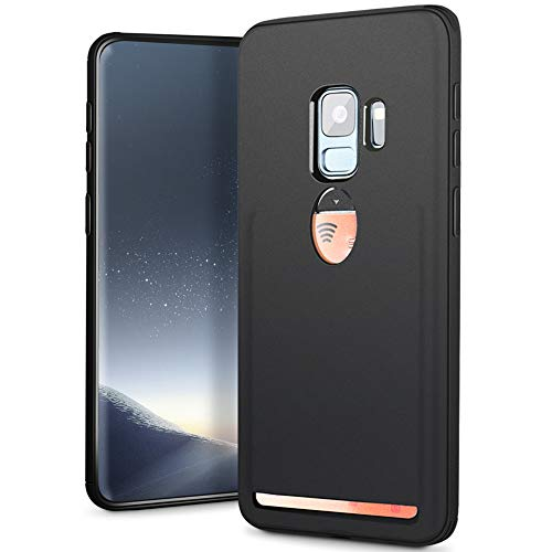 Fnova for Samaung Galaxy S9 Wallet Case, TPU Cushion Protection Slim Phone Case Cover with Card Slot Holder Defender, [Anti-Fingerprint][Anti-Scratch] Shockproof Protective Case