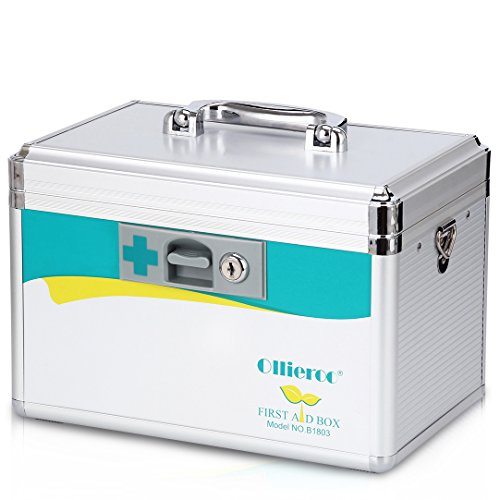 Ollieroo Medication Lock Box Precription Storage Box Locking Medicine Box First Aid Box 7.7 x 7.9 x 12 inches (Silver)