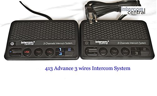 Intercom Central 413   Three Channels Home Power Line Intercom System  3 Wire  Black  Two Stations Set
