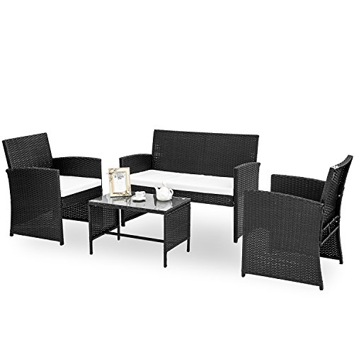 HANs 4 PC Rattan Patio Furniture Set Garden Lawn Sofa Cushioned Seat Wicker Sofa (Black) (Room Dining Terrace Garden Furniture)