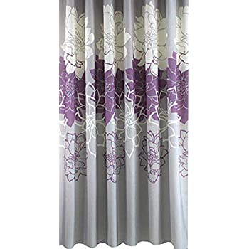Gray Background And Flowers PatternMildew Proof Waterproof Washable Printed Polyester Fabric Shower Curtain For Bathroom 72inch78inch Purple