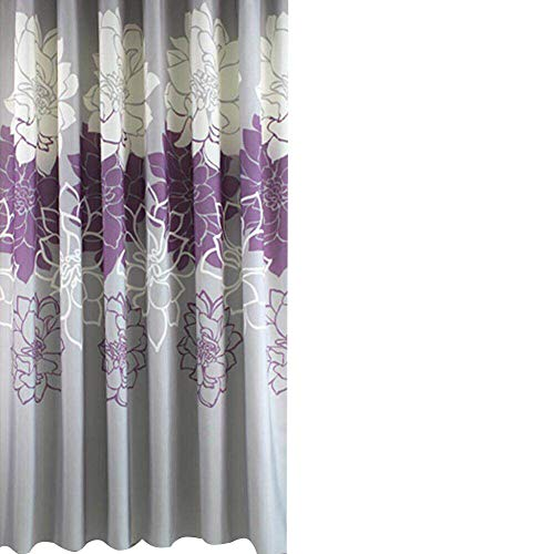 Sfoothome Small Size 36 by72 Inch Gray Background and Purple Flowers Pattern,Waterproof Washable Printed Polyester Fabric Shower Curtain for Bathroom (Purple 36Inch72Inch) (Grey And Purple Shower Curtain)