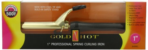 Gold 'N Hot Professional Spring-Grip Curling Iron, 1 Inch (Gold And Hot Curling Iron)