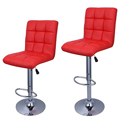 Belleze Leather Hydraulic Lift Adjustable Counter Bar Stool Dining Chair Red -Pack of 2 (Sears Chairs Room Dining)