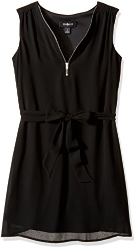 Amy Byer Big Girls' Sleeveless Dress with Zipper and Self Belt, Black, 7 (Kids Black Dresses)