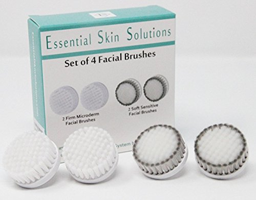 Essential Brush (Facial Brush Replacement Heads - Sensitive Skin Face Brush and Microdermabrasion Face Brush Replacement Heads for the Perfect Skin Brushing - Set of 4)