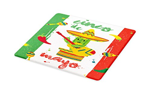 Lunarable Cinco De Mayo Cutting Board, Doodle Cactus Man Figure Playing Guitar on Mexican Flag Colored Background, Decorative Tempered Glass Cutting and Serving Board, Small Size, Multicolor by Lunarable