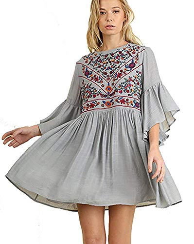 Umgee Boho Bliss Mandy and Ally Embroirdered Bell Sleeve Dress,Cool Grey (2X Plus, Cool Grey)
