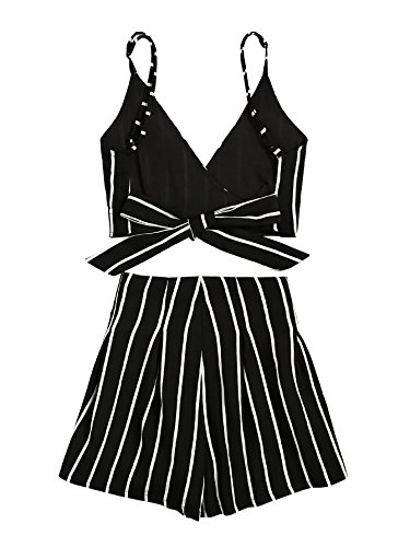 d650c2f68f4 MAKEMECHIC Women s 2 Piece Outfit Summer Striped V Neck Crop Cami Top with  Shorts Black S - MMC9-TP170718101-S   Categories   Sports   Outdoors - tibs