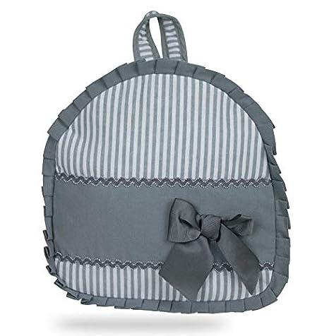 Mochila personalizable para bebe/niño o niña tela a rayas grises y blancas con tela