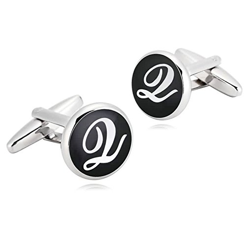 AmDxD Jewelry Stainless Steel Cufflinks for Men Letter Round Q Black White Cuff Links - York And Dolce New Gabbana