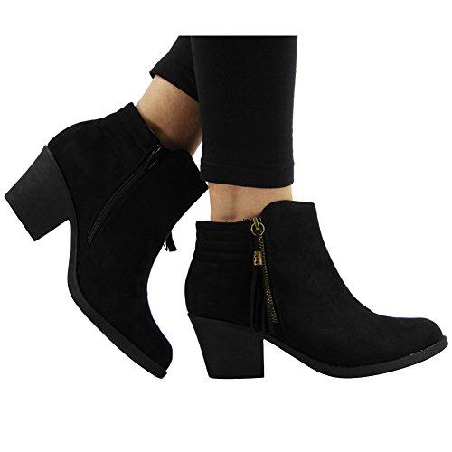 WOMENS LADIES TASSLE CHELSEA BOOTIES MID CUBAN HEEL ANKLE BOOTS SHOES SIZE 3-8 Black yQNKRL8M