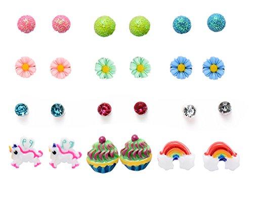 Fsmiling 24 PC Mix Ball Daisy Unicorn Rainbow Cake Assorted Stud Earrings Set, Hypoallergenic