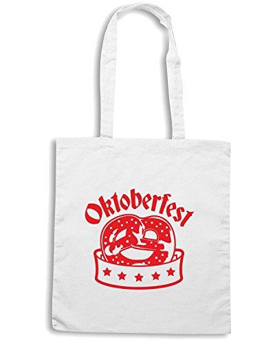T-Shirtshock - Bolsa para la compra BEER0092 Oktoberfest Pretzel Blanco