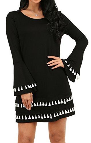 Womens Casual Cotton Plain Simple StrechT-shirt Loose Dress Plus Size Black XL