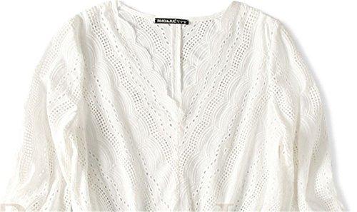JOTHIN 2017 Donna Bianco Collo v Camicie Ricamati Openwork a Balze Traspirante Magliette Manica a 3/4 Estive Sexy Eleganti T-shirt.