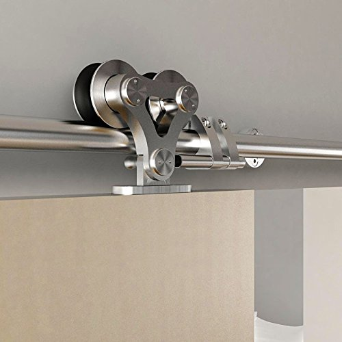 DIYHD 8FT Top Mounted Stainless Steel Double Head Twin Roller Sliding Barn Door Hardware to hang one door panel by DIYHD