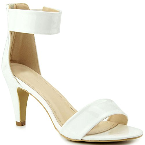 White Kitten Heels - Guilty Shoes Womens Classic Comfort Sexy Open Toe Ankle Strap Dress Stiletto Kitten Heel Sandals Sandals, White Patent, 7.5 (B) M US
