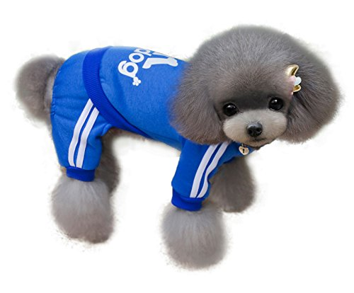 TadMart - Blue Pet Hoodie adidog L (for small dogs,100% cotton sporty hoodie/ sportswear / hooded sweater/ warm sweater / sporty outfit for pets) (Dog Elf Outfit)