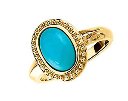 Turquoise Cabochon 1.86 Ct. Granulated Bead 14k Yellow Gold Ring, Size 6.75 by The Men's Jewelry Store (for HER)