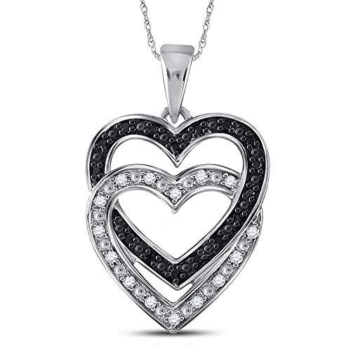 - Dazzlingrock Collection 10kt White Gold Womens Round Black Color Enhanced Diamond Double Heart Pendant 1/10 Cttw