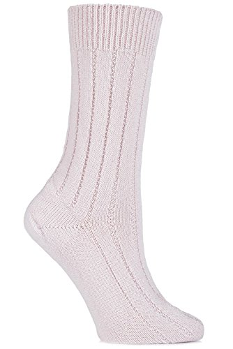 SockShop of London Women's 1 Pair 100% Cashmere Tuckstitch Bed Socks 6.5-9.5 Cherry Blossom