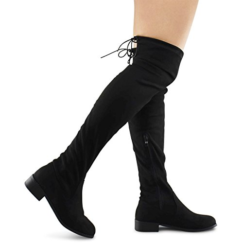 Premier Standard Women's Fashion Comfy Vegan Suede Block Heel Side Zipper Back Lace Thigh High Over The Knee Boots, TPS Olympia-14 Black Size 7