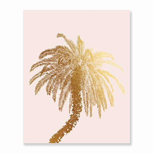 Metallic Palm Tree Table Decor (Palm Tree Gold Foil Decor Wall Art Print Island Tropical Metallic Pink Poster 8 inches x 10 inches C21)
