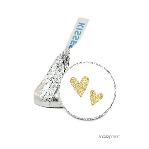 Andaz Press Chocolate Drop Labels Stickers Single, Wedding, Double Hearts Faux Gold Glitter, 216-Pack, For Hershey's Kisses Valentines Day Party Favors, Envelope Seals, Gifts, Decorations