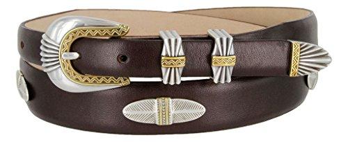 (Lucas Silver and Gold Buckle Set Oil-Tanned Western Italian Calfskin Belt for Men(Brown,)