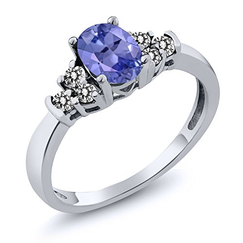 0.65 Ct Oval Blue Tanzanite White Diamond 925 Sterling Silver Ring Diamond Tanzanite Ring
