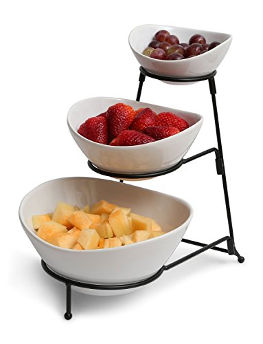 Gibson 3 Tiered Oval Chip And Dip Set With Metal Rack, Three Tier Dessert And Snack Server ()