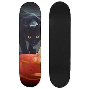 Black Cat Halloween Pumpkin Vogue Double Warped Skateboard Deluxe Longboard Skate Boards