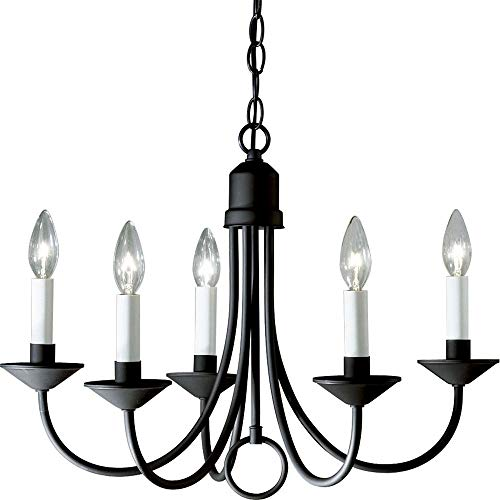 Progress Lighting P4008-31 5-Light Chandelier, Textured Black