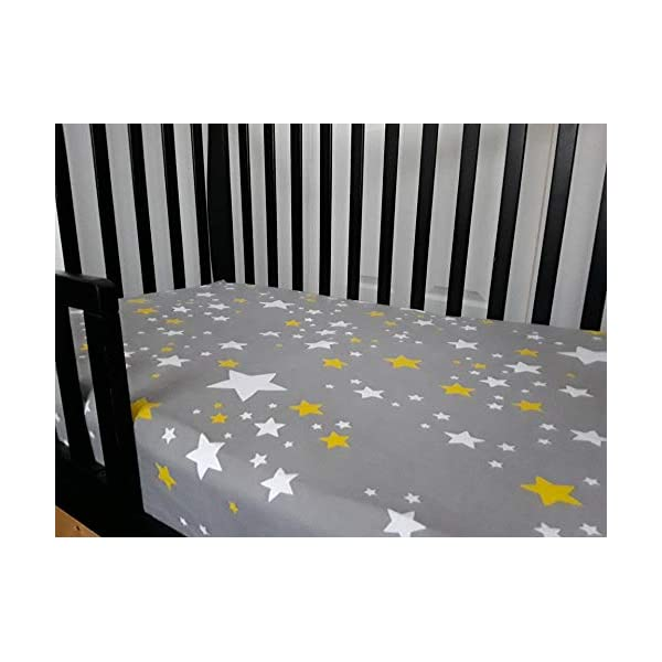 Pull-Proof Toddler Fitted Crib Sheet with Ties, gray with yellow stars