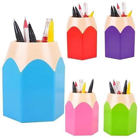 Flybuild Lot de 5/Assortd Couleur Stylo Vase Pot /à crayons Maquillage Brosse Support Organiseur de bureau papeterie organiseurs Blue,Green,Pink,Purple,Red