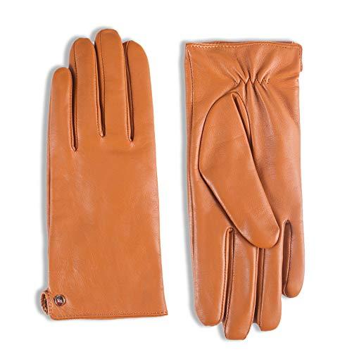YISEVEN Women's Touchscreen Lambskin Dress Leather Gloves Flat Design Button Cuff Wool Lined Luxury Stylish Elegant Warm Fleece Fur Heated Lining Winter Driving Work Xmas Gifts, Gongac 8.0