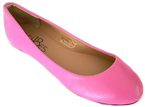 d0c55ae45fc03 Galleon - SH18es Womens Ballerina Ballet Flat Shoes Solids   Leopards 6  Pink Pu 8600