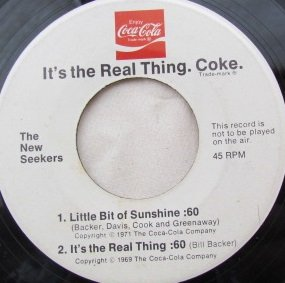 Buy The World A Coke   Little Bit Of Sunshine  Its The Real Thing  Vinyl 45  7 Inch